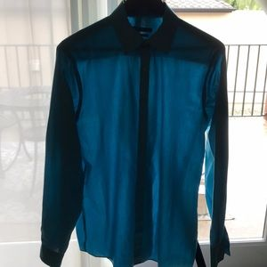Turquoise button down dress shirt
